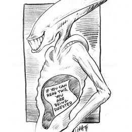 Cartoon by Laine Liska during production of Alien3