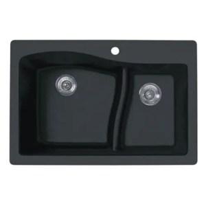 Swan QZ03322LS.077 33-in L x 22-in W x 10-in H Granite Kitchen Sink