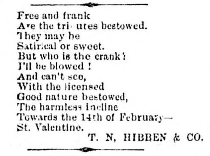 Valentine poem from T.N. Hibben & Co.