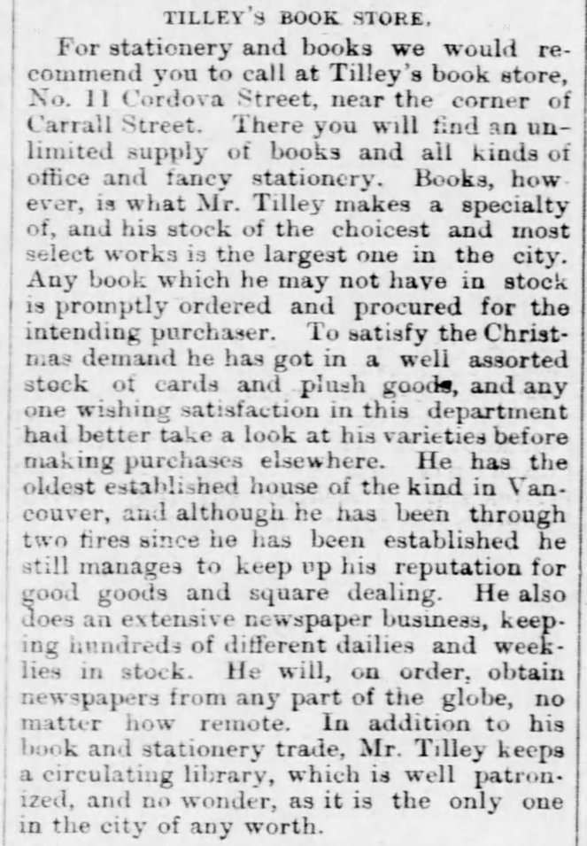 Newspaper clipping about Tilley's store from December 1889.