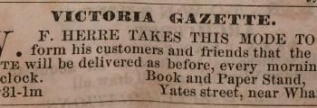 W. F. Herre opens bookstore in Victoria