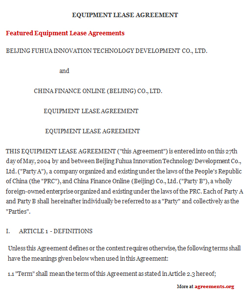 13 equipment rental agreement templates free sample example – Equipment Lease Form Template