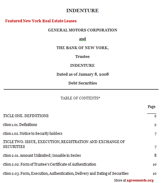 Indenture Agreement Sample Indenture Agreement Template