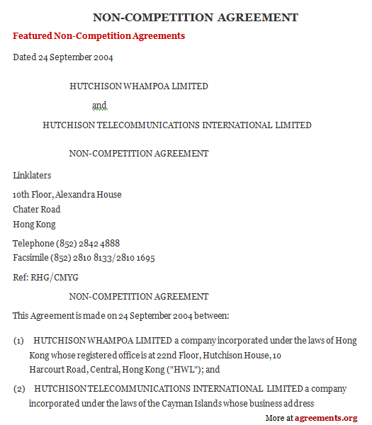 non compete form template 10 non compete agreement forms free. and ...