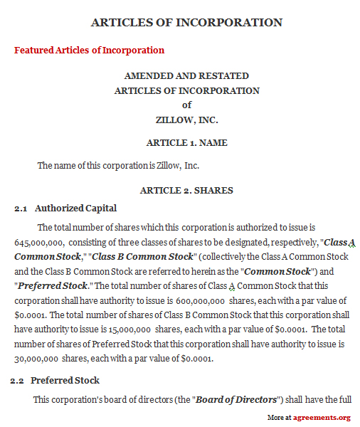 Template Articles Of Incorporation articles of incorporation – Free Articles of Incorporation Template