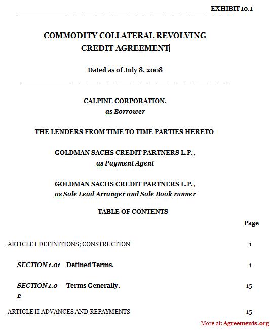 Revolving Loan Agreement Template Revolving Credit