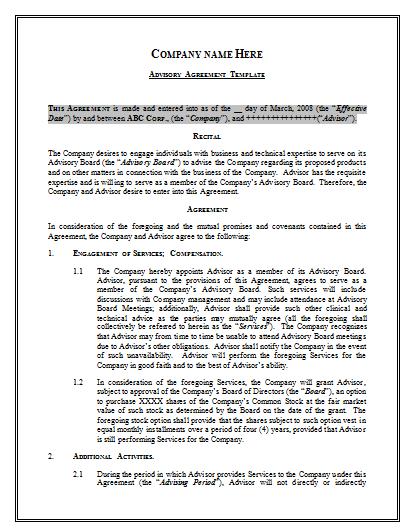 Advisory Agreement Template