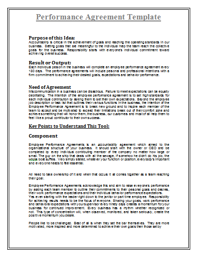 Performance Agreement Template