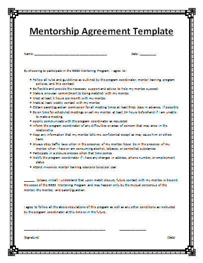 Mentorship agreement template by for Mentoring application templates
