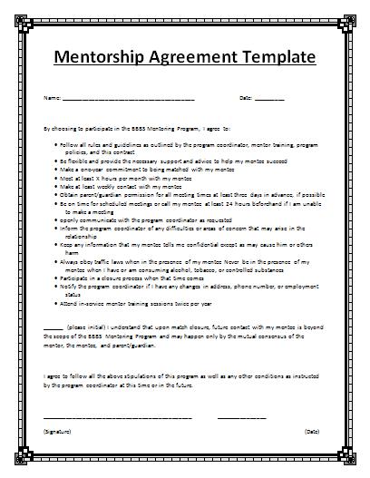 Mentorship Agreement Template
