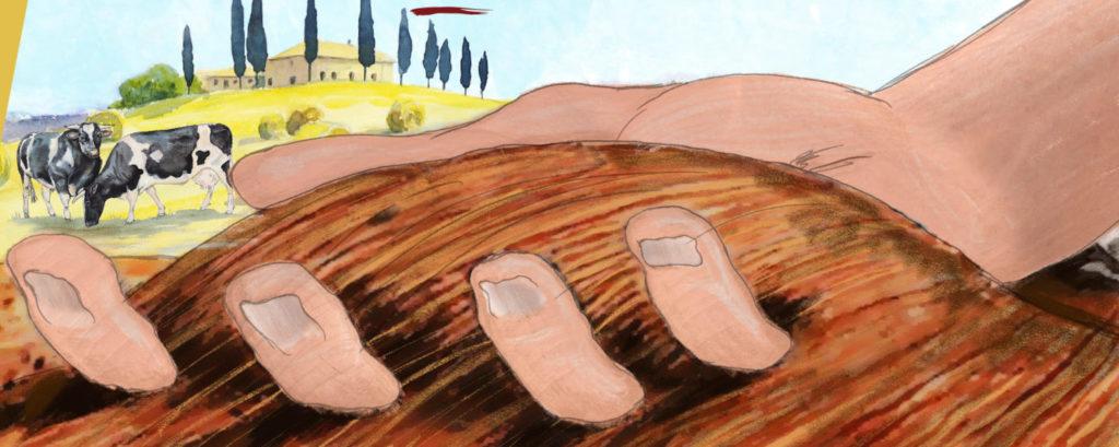 Il disegno di una mano nella terra
