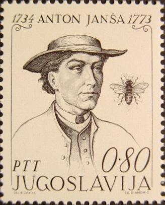 Un ritratto su francobollo di Anton Janša, il pioniere dell'apicoltura moderna (Fonte: Wikipedia)