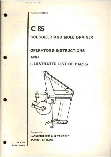 Ransomes C85 Subsoiler Amp Mole Drainer Operators Manual And