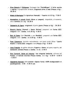 Listino Prezzi - Vendita Prodotti Agricoli - Seconda Pagina