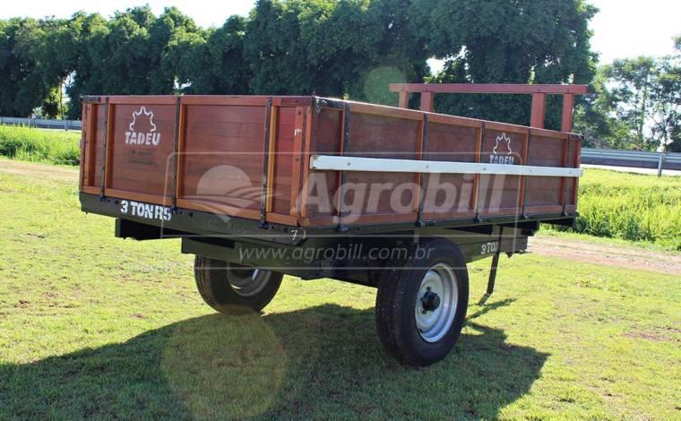 Carreta de Madeira Basculante 3 Toneladas / sem Pneus / com Freio – Tadeu > Nova - Carreta Agrícola de Madeira - Tadeu - Agrobill - Tratores, Implementos Agrícolas, Pneus