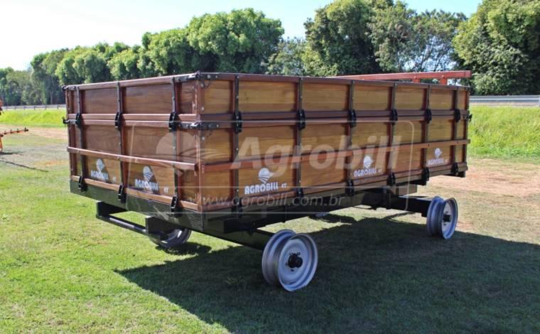 Carreta de Madeira 4 Toneladas 2 Eixos / sem Freio / com Sobreguarda / sem Pneus – Agro Stadler > Novo - Carreta Agrícola de Madeira - Agro Stadler - Agrobill - Tratores, Implementos Agrícolas, Pneus