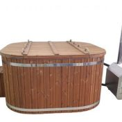 Bain nordique en bois carré poêle externe avec couvercle