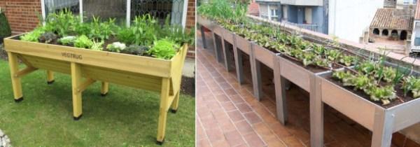 Mesas de cultivo para el mini huerto urbano