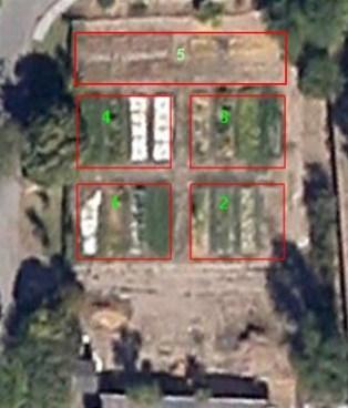 Vista aérea del huerto de agrónomos