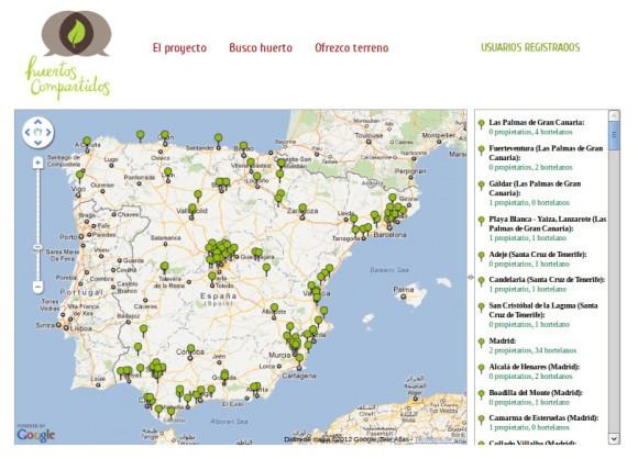 Mapa red social Huertos Compartidos