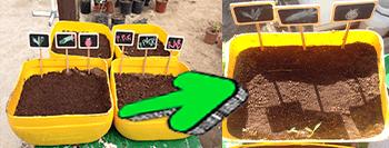 Aquí podemos ver cómo baja la tierra debido a la presión de la manguera.