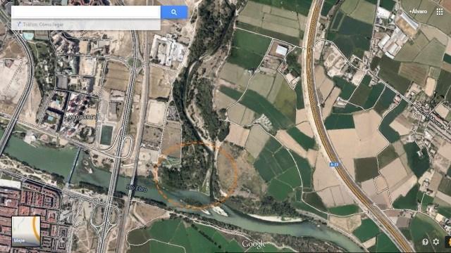 Aquí podemos observar cómo intersectan el río Ebro (parte inferior) con el Gállego (parte derecha).