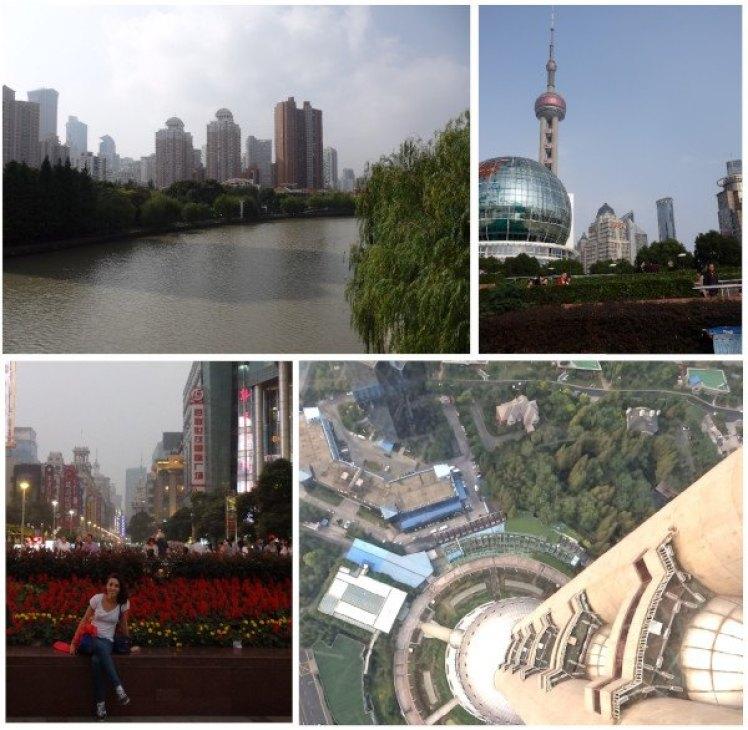Vistas de Shanghai y Lucía en parque