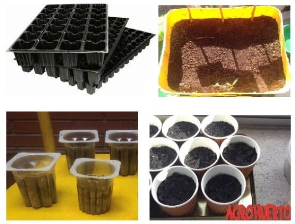 tipos de recipientes para hacer un semillero de tomate