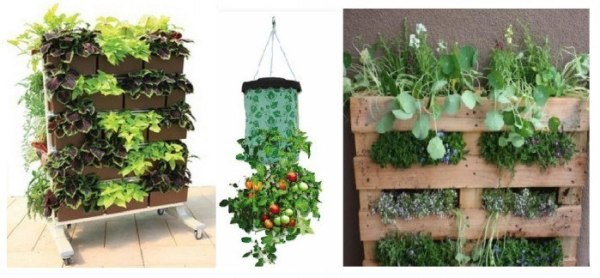recipientes para un mini huerto vertical