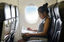 Airplane Woman Reading
