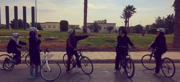 Women getting ready for a bike ride in Jeddah