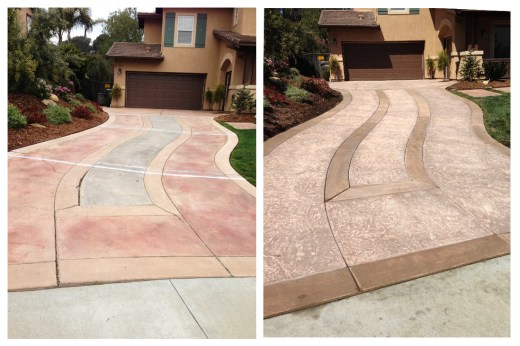 Before and After driveway maintenance by Agundez Concrete
