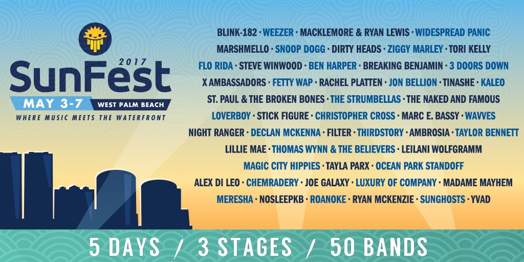 Sunfest 2017 Lineup is here – Headlining Blink 182 + ! #SunFestFL