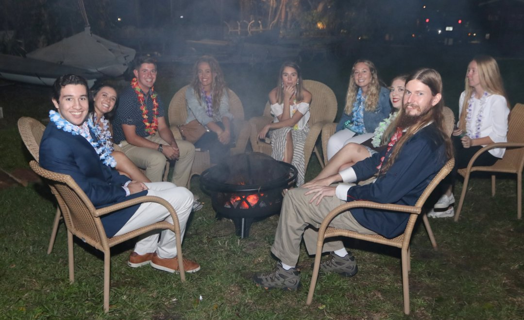 Palm Beach Atlantic Sailing Team enjoying a campfire - Photo by Mike Jachles