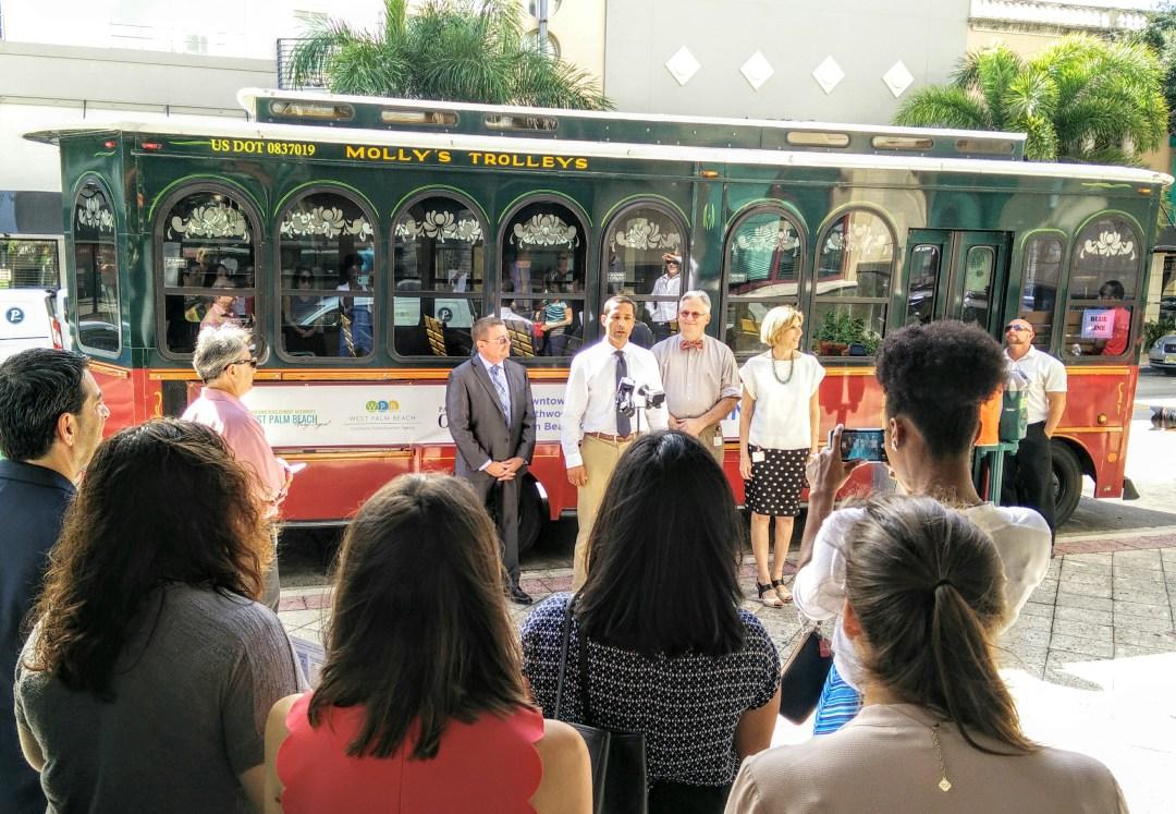 DDA Executive Director Raphael Clemente introducing the Blue Line