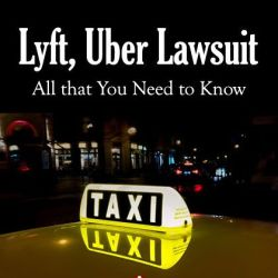 A yellow taxi with glowing neon sign taxi on top at night with caption Lyft and Uber lawsuit