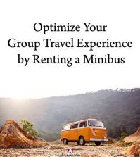 Minibus with nature in background as means to optimize group travel experience