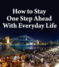 People enjoying at Sydney harbor with text how to stay one step ahead with everyday life