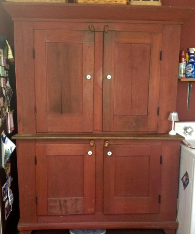 antique red pantry cabinet