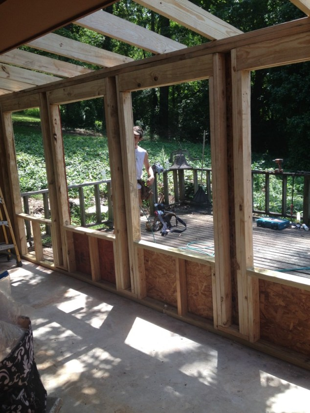 Framing the new windows.