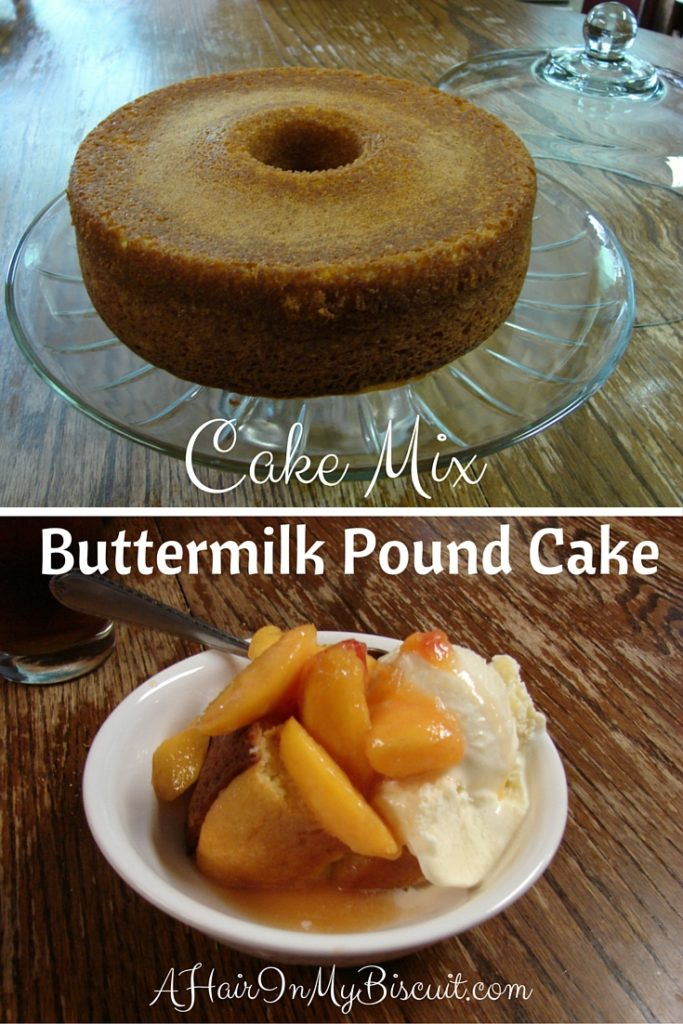 My cake mix buttermilk pound cake was the perfect recipe for an easy, perfectly rich accompaniment to those luscious peaches! I just love cake mix hacks like this one!