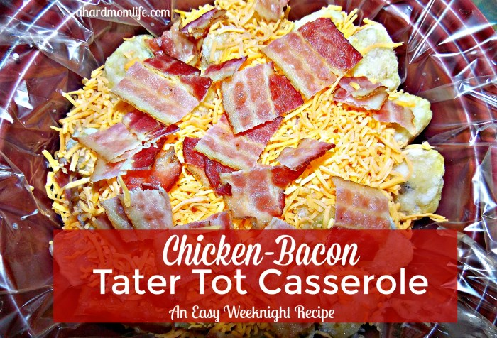 Are you looking for your families favorite weeknight dinner? You just found it. Simple to make with a taste the kids will love, chicken-bacon tater tot casserole has it all.
