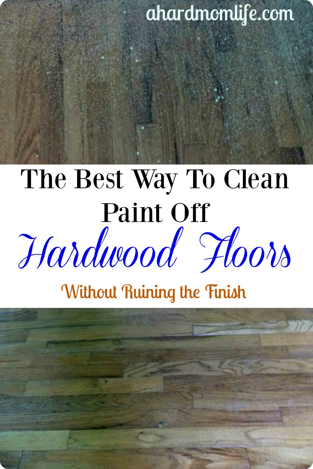 Do you have paint on your hardwood? Checkout how I got overspray off these 50-year-old wood floors.