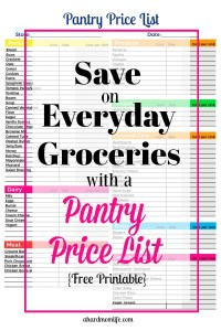 Save on Everyday Groceries with a Pantry Price List