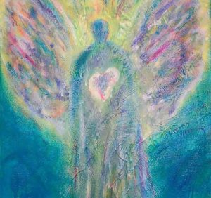painting of angel with heart by roberta millard