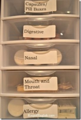 Bathroom storage - use small drawer sets to organize toiletries.