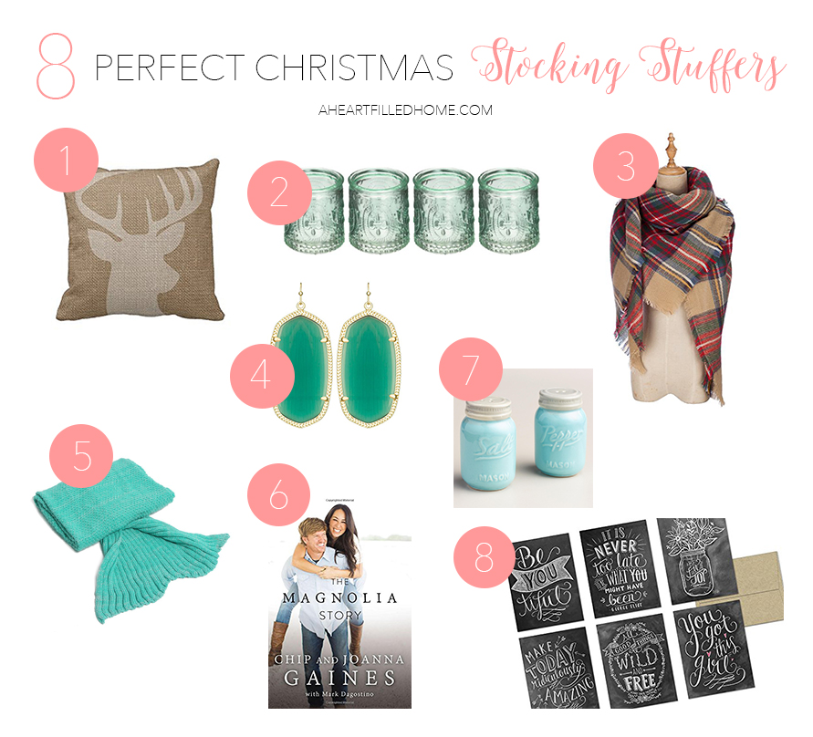 8 Perfect Christmas Stocking Stuffers by A Heart Filled Home. Click to finish your Christmas Shopping!