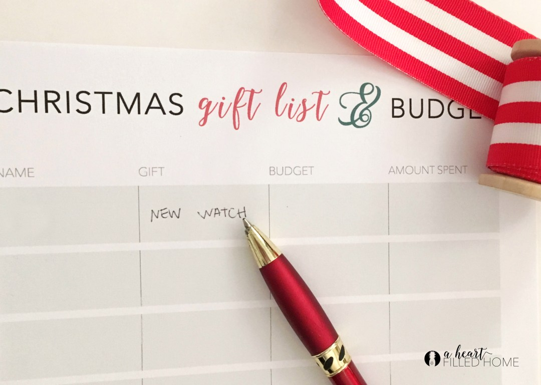 Free Christmas Gift List & Budget Printable from A Heart Filled Home. Click for your free download!