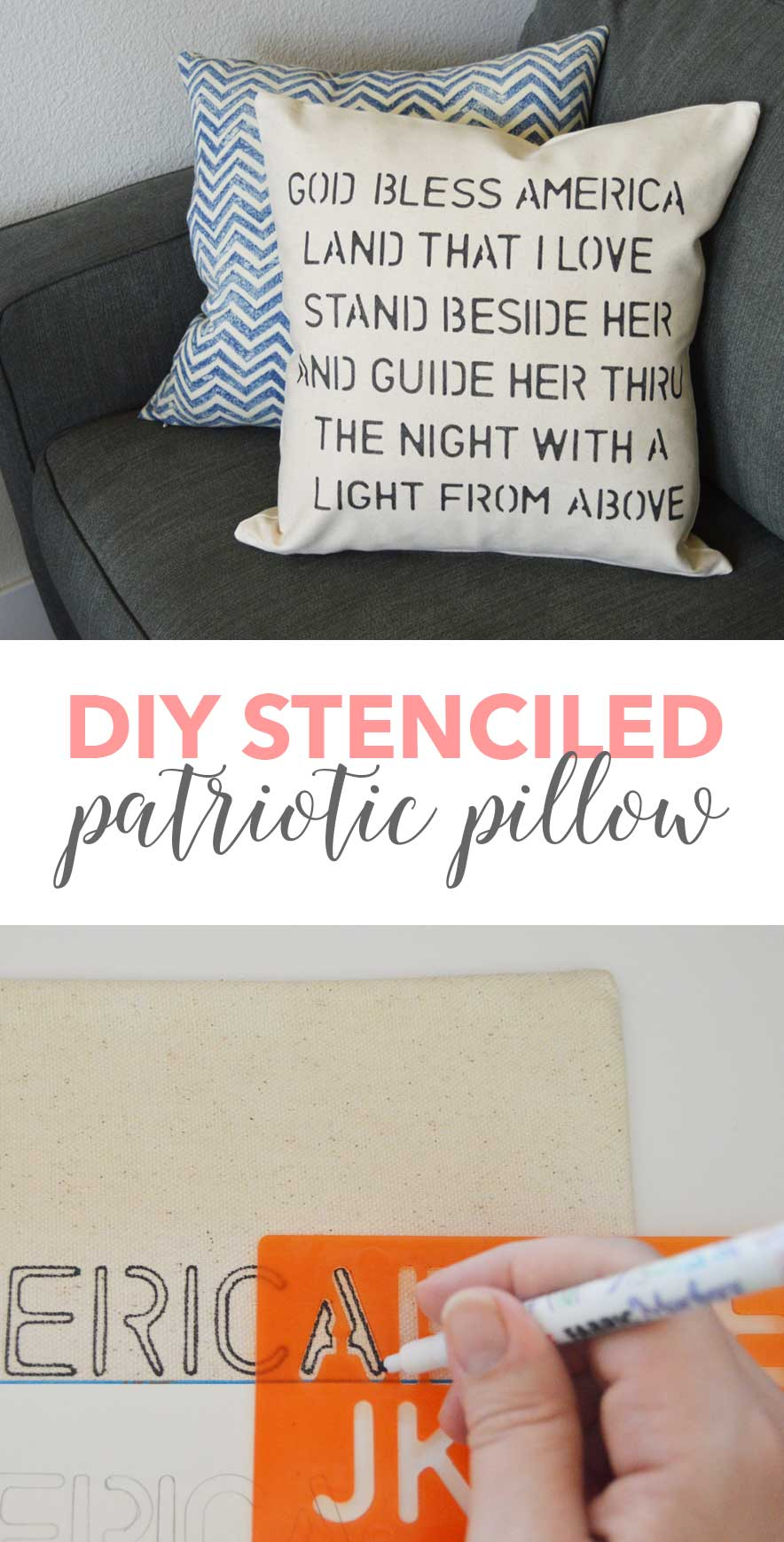 This DIY Stenciled patriotic pillow cover was so easy to make! A great budget-friendly DIY project!