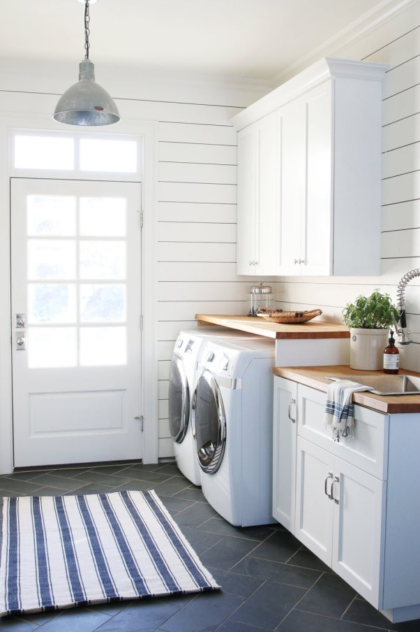 Beautiful Farmhouse Laundry Room Inspiration from aheartfilledhome.com